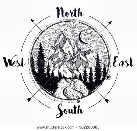 Nature pine forest mountain landscape, beautiful night sky wind rose compass. Tribal boho style template. Isolated vintage vector illustration. Invitation. Tattoo, travel, adventure, camping symbol.