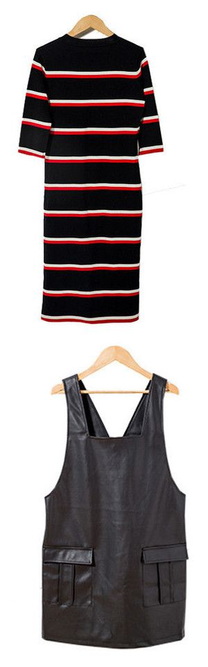"""""""Dresses"""" by stargazerfashion on Polyvore featuring dresses, 3/4 sleeve bodycon dress, knit midi dress, 3/4 length sleeve dresses, bodycon midi dress, tall dresses, fake leather dress, zip dress, vegan dresses and faux leather dress"""