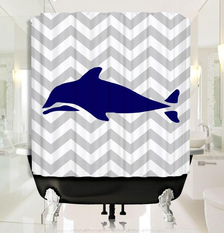 Light Gray Chevron with Deep Blue Dolphin Shower Curtain