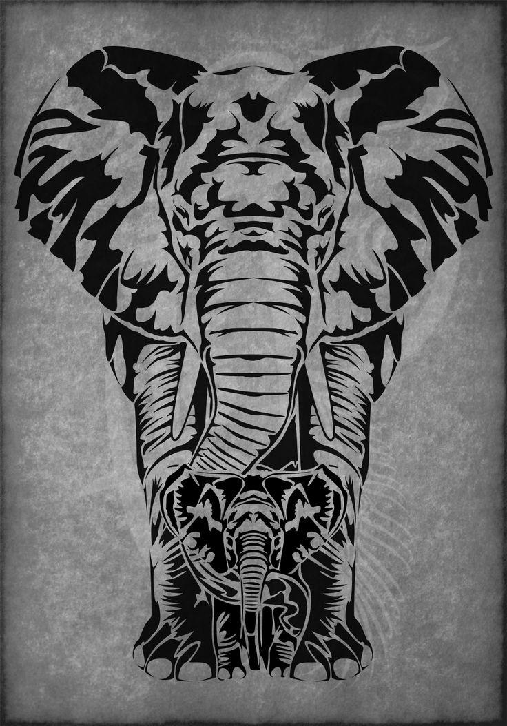 Elephant Matriarch Tribal Tattoo by Amoebafire on DeviantArt