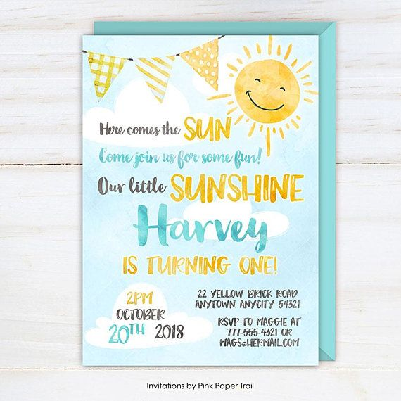 Little Sunshine Birthday Invitation Here Comes The Sun Invite You Are My Sunshine Boy Fir Sunshine First Birthday Sunshine Birthday Sunshine Birthday Parties