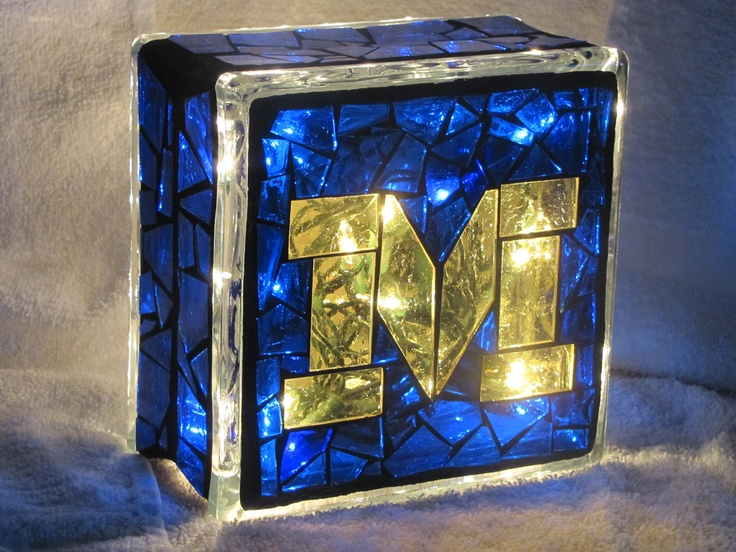 University of Michigan Stained glass Mosaic block with lights. $30.00, via Etsy.