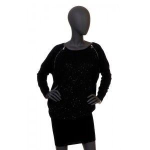 Patrizia Pepe - czarna sukienka tunika z cekinami