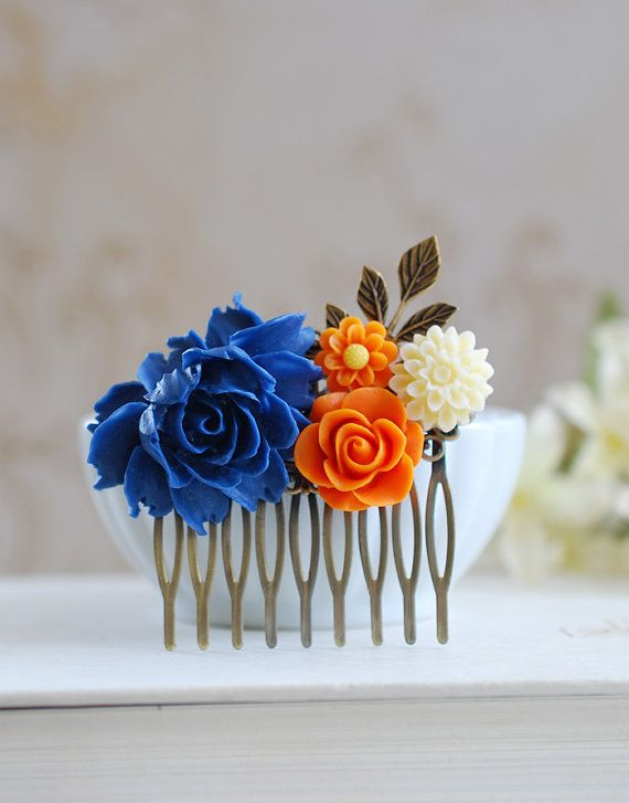 Cobalt Blue and Orange Wedding Bridal Hair Comb. Large Cobalt Blue Rose, Orange, Ivory Flowers Collage Hair Comb, Bridal Bridesmaid Comb on Etsy, $26.00