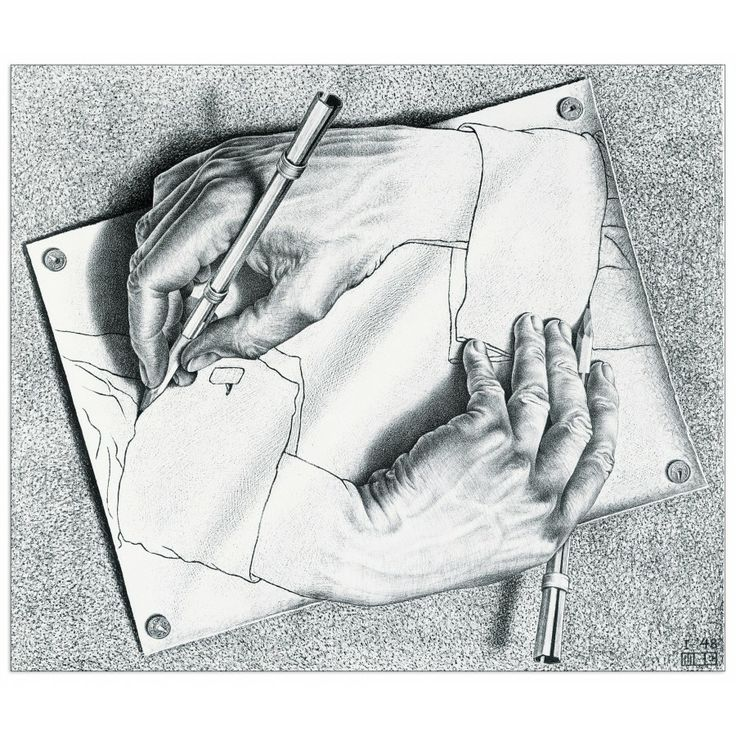 ESCHER - Drawing Hands, 1948 47x40 cm #artprints #interior #design #Escher Scopri Descrizione e Prezzo http://www.artopweb.com/autori/escher/EC18413