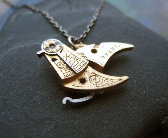 Clockwork Pendant Thrush Watch Gear Bird Assemblage Necklace via Etsy