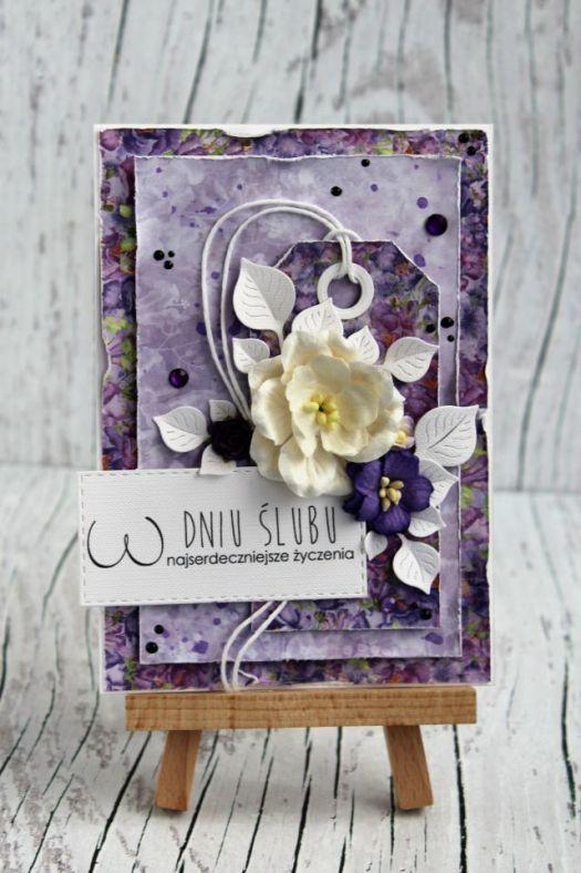 Kartka ślubna - fiolet i wrzos