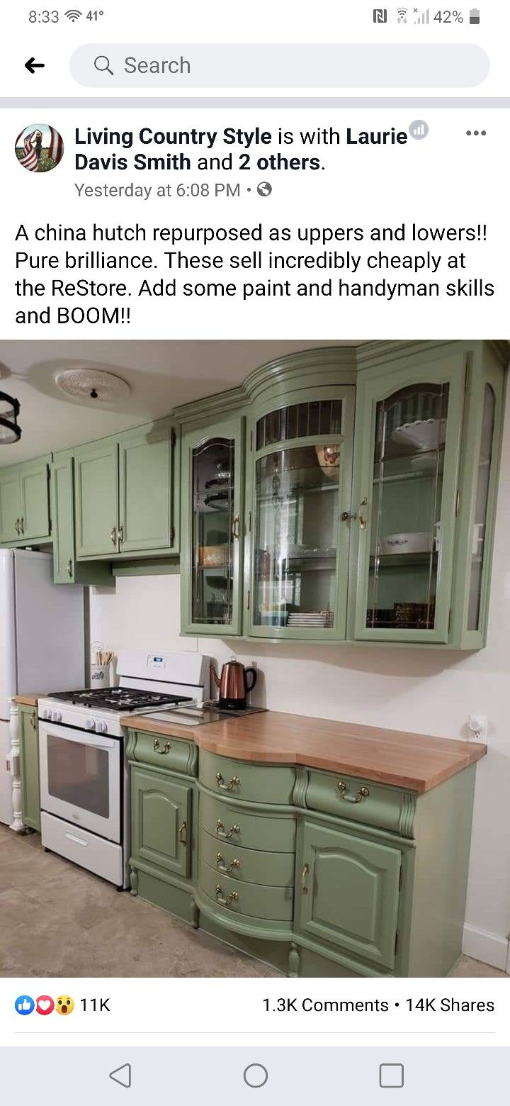 A China Hutch Repurposed As Uppers And Lowers Upper Kitchen Cabinets Repurposed Kitchen