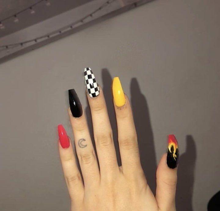 Pin By On Baddie Nails Checkered Nails Fire Nails Long Acrylic Nails