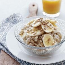 Breakfast Barley with Banana and Sunflower Seeds - pearl barley, banana, sunflower seeds, honey
