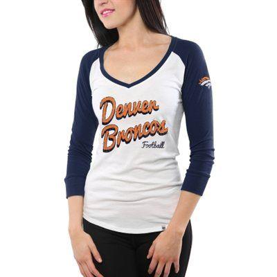 47 Brand Denver Broncos Women's Batter Up Raglan Long Sleeve T ...