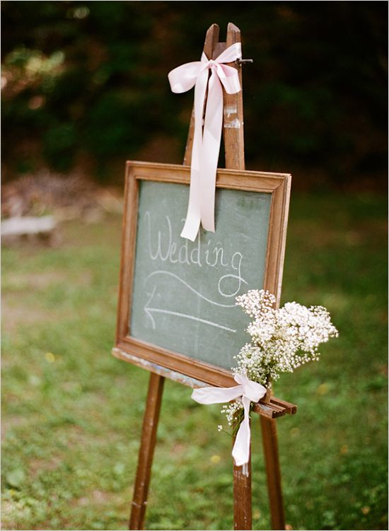 chalkboard wedding sign to place by the double doors to direct people to the garden for cocktail hour.  Later we can erase a write something else funny.  like taco bar opens in five minutes, etc.