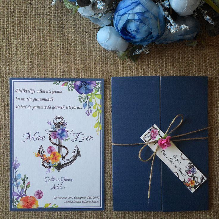 Masal Davetiye 1019 Çapa Modelimiz, Marine tarzda, modern trend düğün davetiyesi. İp bağlamalı, çiçek aksesuarlı ve isimlik kartlı...