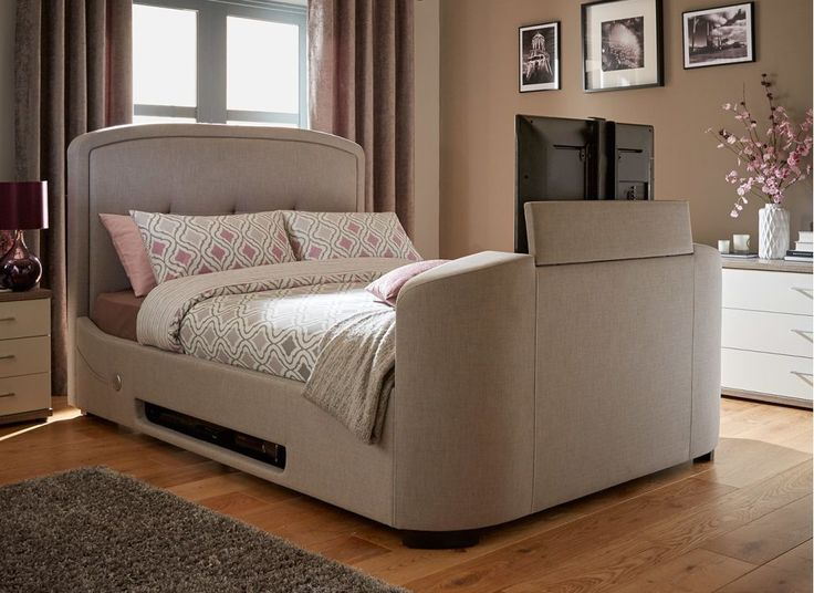 Luther Grey Fabric Upholstered Tv Bed Frame