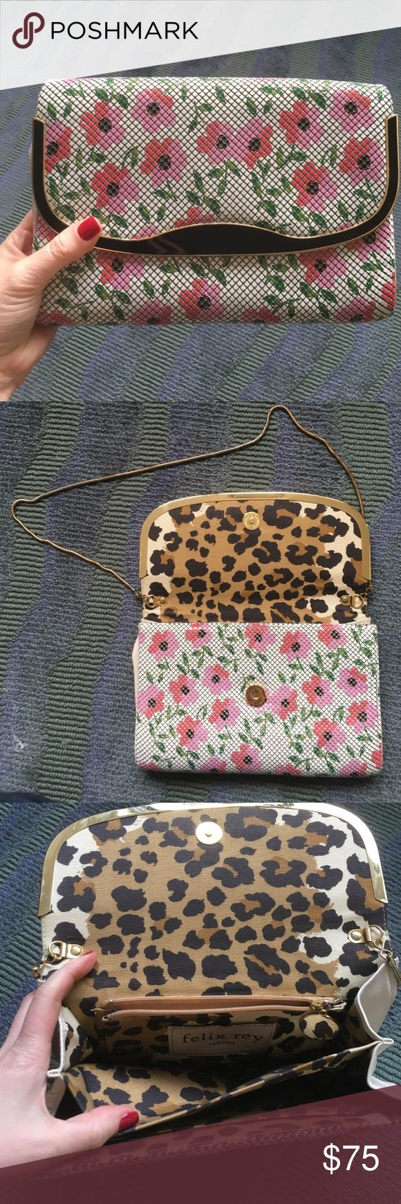 Felix Rey mesh metal clutch 🎀💕 Felix Rey metal clutch with a gold strap that can be tucked inside the purse. Excellent condition inside and out with only minor wear. A great springtime purse 🌺 Bags Clutches & Wristlets