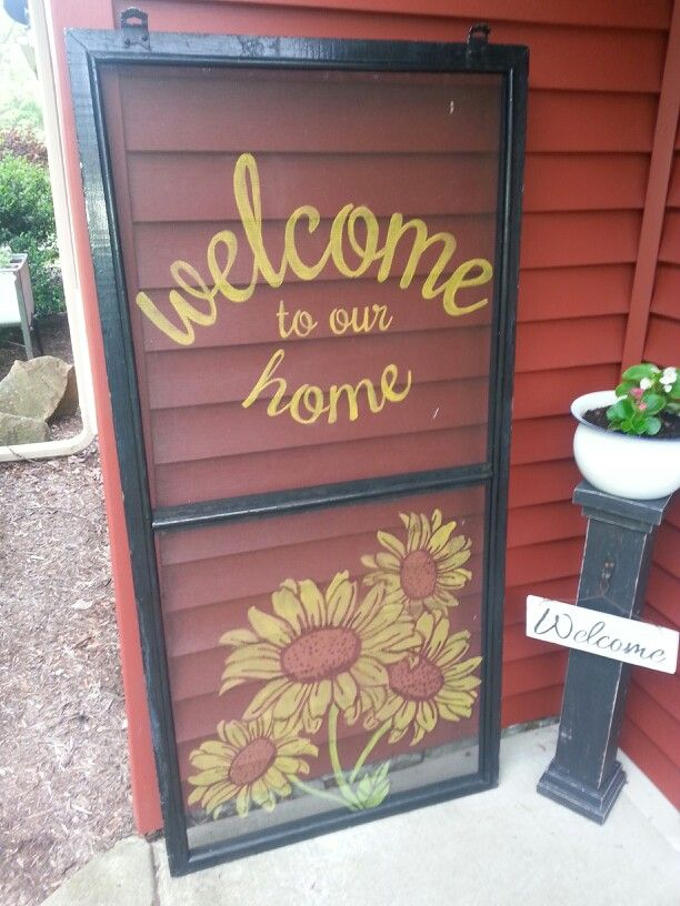 Hand painted screen. Welcome to our home with sunflowers.
