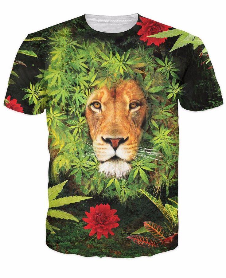 Herb Plant Weed Marijuana Leaves Lion's Mane Hipster Full Print T-Shirt