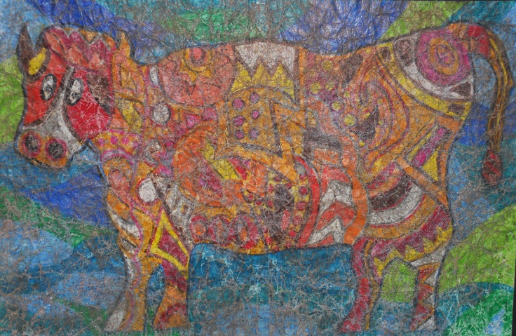 Crayon Batik! Crayons colored on paper, crumple paper until soft and cracked, paint over entire picture with black watercolors. Pat Dry