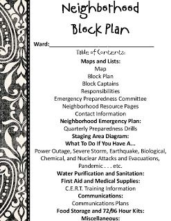 """Neighborhood Block Plan. Getting a map together of the houses in your ward boundaries and assigning a """"Block Captain"""" in case of an emergency."""