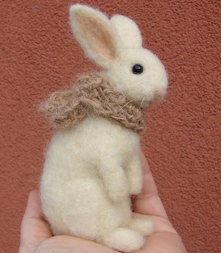 Needle Felted Winter Bunny wool rabbit Christmas by OldFairyTales
