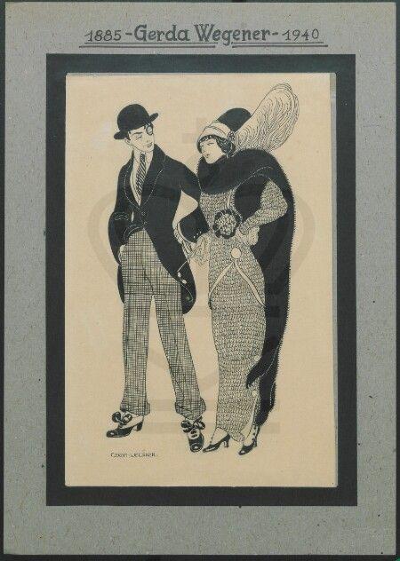 Gerda Wegener En mand og en kvinde klædt fint på. Kvinden har en stor fjer i hatten og en lang pels om halsen. Manden er iført bowlerhat og en monokel.