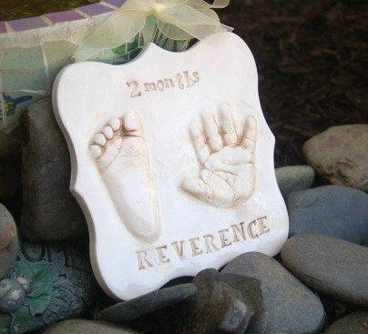 Baby Print Keepsake - Foot Print and Hand Print Ceramic Ornament - New Mother…
