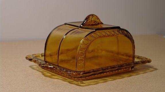 Osteklokke/smørklokke i brunt glass