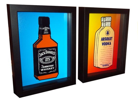 Jack Daniels Bottle Absolut Vodka Bottle Art 3D Pop by PopsicArt