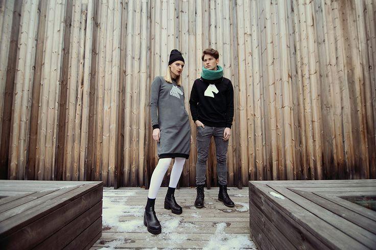 "GIRL folk head grey sweatshirt dress + black head beanie BOY ""the head"" sweatshirt (unisex) + winter tube"