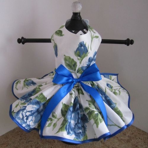 blue roses dog dress $60.00