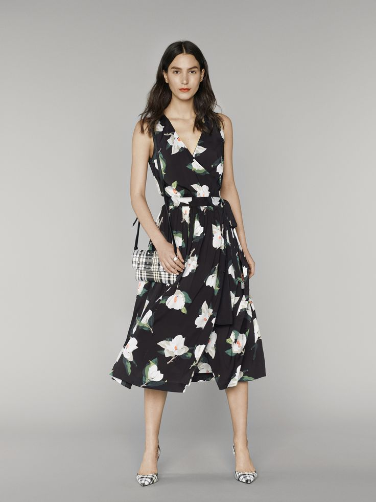 We can't wait for this flowy floral black and white patterned sleeveless dress to live in our closet this summer | Banana Republic Summer '16