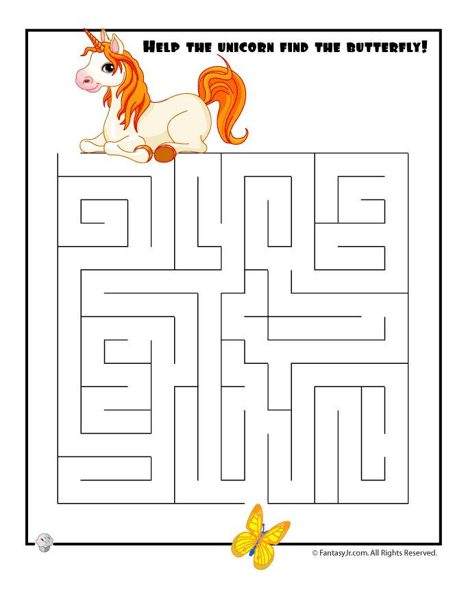 Easy Kids Mazes Easy Unicorn Maze – Fantasy Jr.