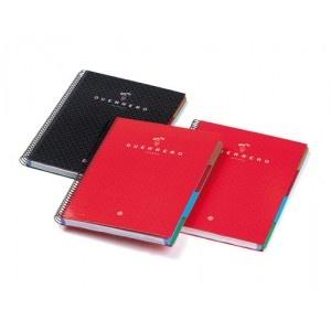 Cuaderno con cubierta extradura forrada con papel impreso y plastificada.