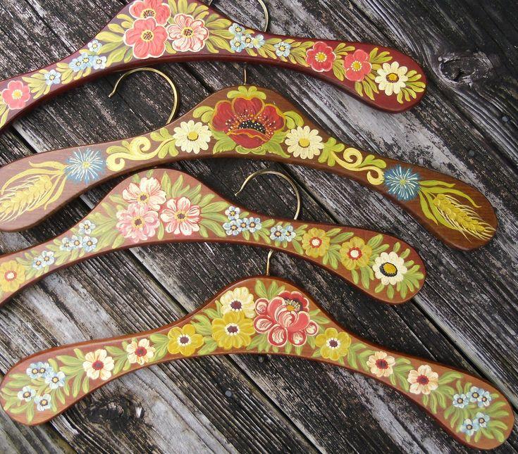 painted folk art flowers wood clothes hangers