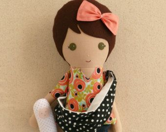 Fabric Doll Rag Doll Brown Haired Girl in Coral by rovingovine
