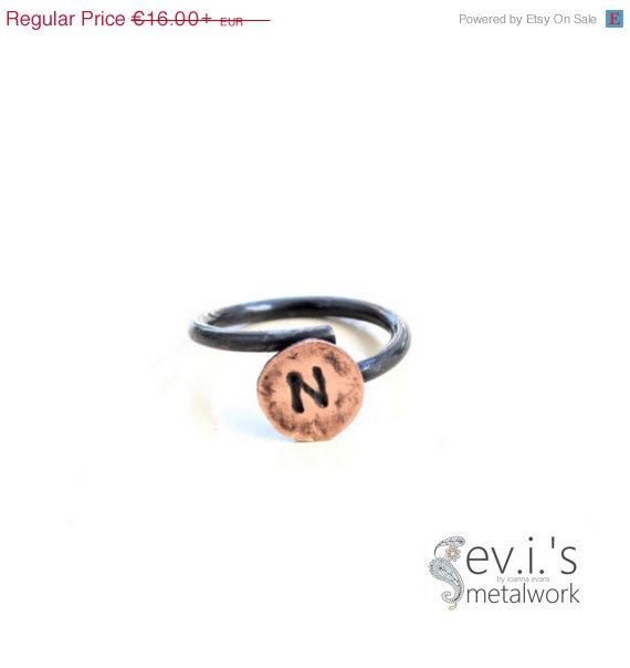 On Sale Initial Black Minimal Wire Ring Copper by evismetalwork, €13.60