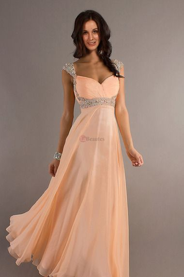 Pretty Prom Dresses 2013 A Line Sweetheart Square Chiffon Floor Length Cap Sleeve online shop affordable for fashion