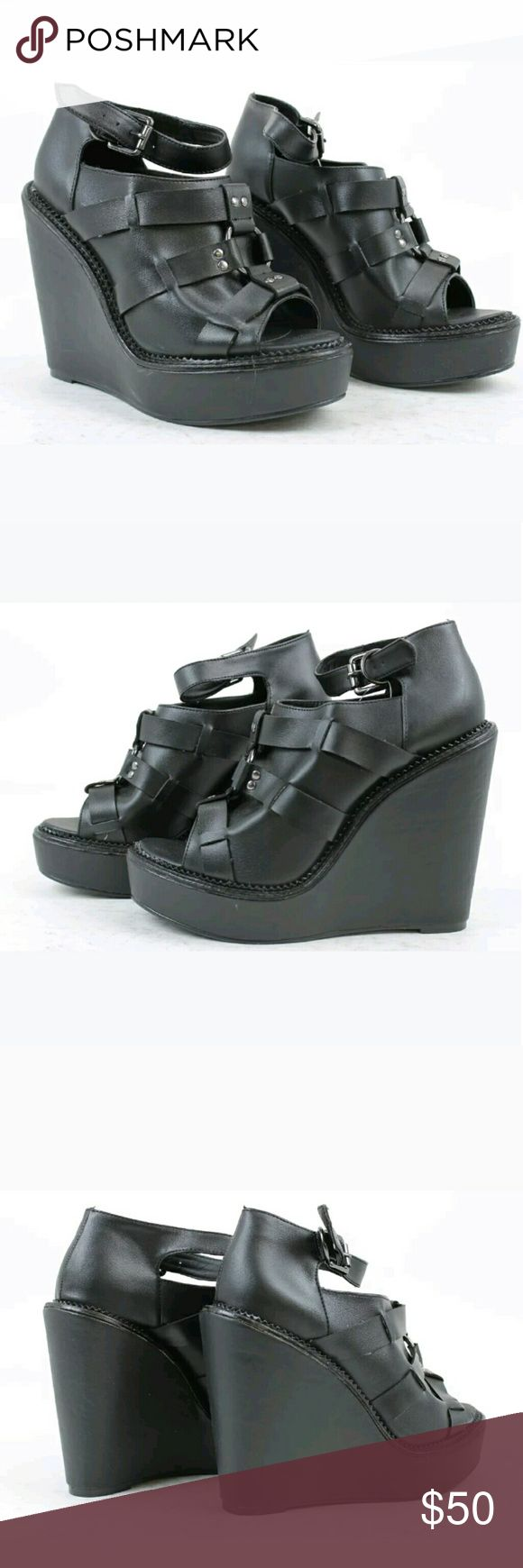 New Deena & Ozzy harness wedge New w/out box Leather Deena & Ozzy peep toe wedge,listed as UNIF for exposure.  Too small, ordered HOPING they ran big because they are impossible to find,  but unfortunately they didn't fit (I'm an 8.5). Hate to sell. UNIF Shoes Wedges