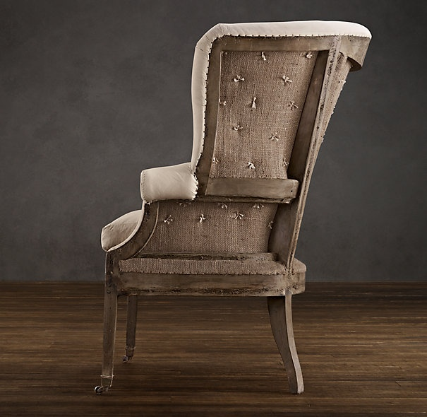 Deconstructed 19th C. English Wing Chair Antique Linen | Chairs | Restoration Hardware