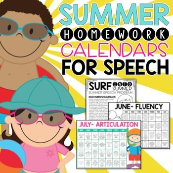 This packet includes fun activities that allow your students to practice their articulation, language and fluency skills over the summer. What's Included: Homework Calendars-3 calendars (June, July, and August) are included for each target area (Articulation, Language and Fluency).