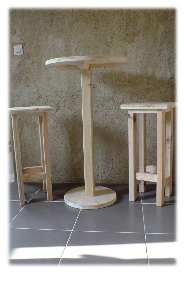 Table haute et ses 2 tabourets pallet bar table stools - Ensemble table haute et tabouret ...