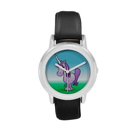 Purple unicorn Kid's Stainless Steel watch. #Zazzle #Cardvibes #Tekenaartje