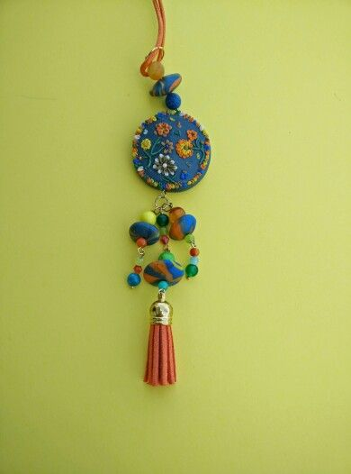 Necklace made from polymer clay.