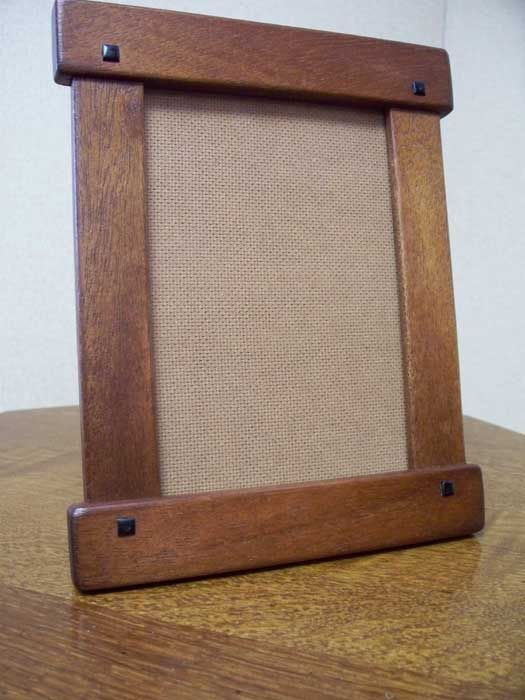 Greene & Greene style hand crafted mahogany w/ebony vertical photo frame. Handcrafted Wood Frames Arts & Crafts Style