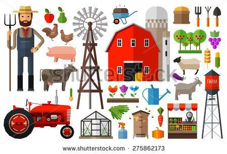 Farm in village vector logo design template. harvest, gardening, horticulture or animals, food icon.