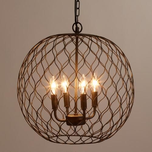 One of my favorite discoveries at WorldMarket.com: Dark Bronze Globe Farmhouse Chandelier