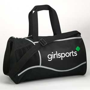 """GirlSport Duffle Bag. Every girl on the go needs a trusty duffle. Black bag with sleek silver trim and white and green girlsports logo. Roomy main compartment with zipper closure. Elastic mesh and front sleeve pockets with Velcro closure. 17"""" X 10 """"X 10"""" Polyester. $16.00"""