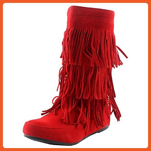 Fashion Women Multi- Color Lima Tribial Indian Moccacnins Three Layerd Tassels Fring Beaded Winter Mid Calf Cowboy Faux Suede Sexy Dress Boot Shoes. (7.5, Red) - Boots for women (*Amazon Partner-Link)