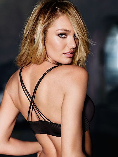 Worn by : Angel Candice Swanepoel  Type : Very Sexy Strappy Back Push Up Bra Color : Black