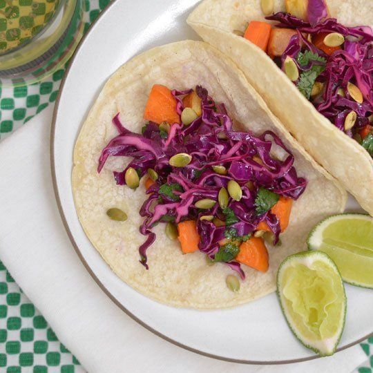 Recipe: Tacos with Roasted Winter Vegetables & Red Cabbage Slaw ...